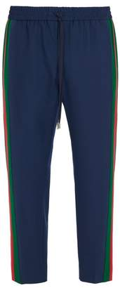 Gucci Side Stripe Wool Blend Trousers - Mens - Blue