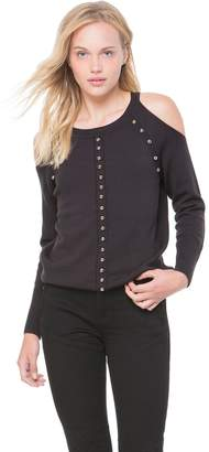 Juicy Couture Dome Stud Embellished Cold Shoulder Sweater
