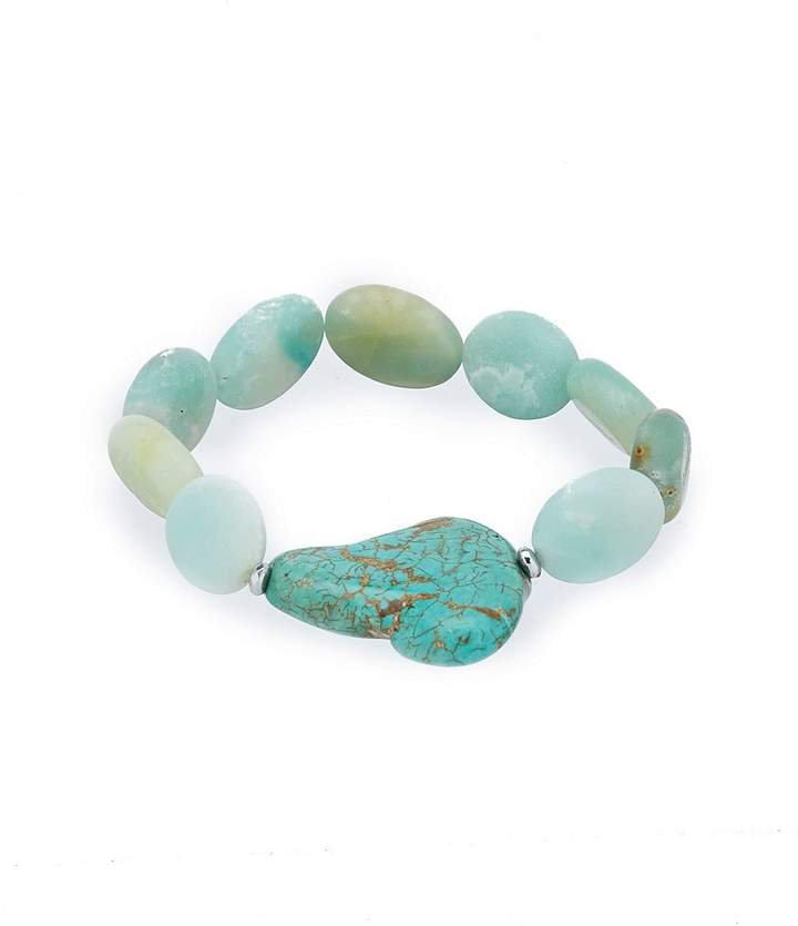 Barse Sterling Silver and Genuine Stone Stretch Bracelet