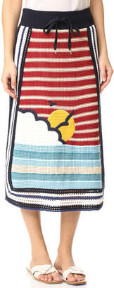 RED Valentino Waves & Sun Knit Skirt $1,195 thestylecure.com