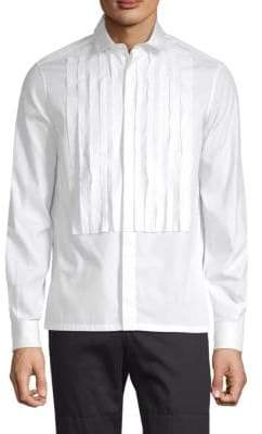 Valentino Pleated Front Long-Sleeve Shirt