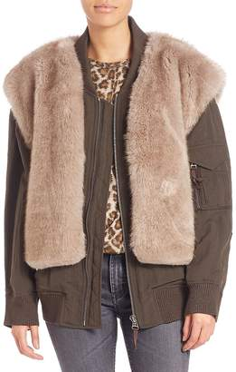Helmut Lang Women's Two-In-One Faux Fur Vest & Bomber Jacket