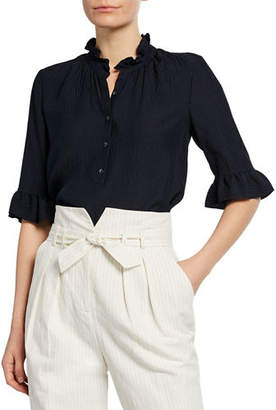 Rebecca Taylor Hammered Silk Button-Front Top