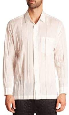 Issey Miyake Wrinkle Woven Button-Down Shirt
