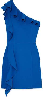 Rebecca Vallance Caspian One-shoulder Ruffled Crepe Mini Dress - Blue