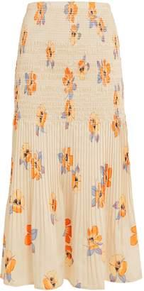 Nicholas Smocked Floral Midi Skirt