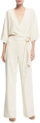 Halston Wide-Leg Wrap-Front Jumpsuit w/ Tie Waist