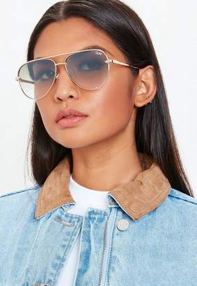 Missguided Quay Australia High Key Rose Gold Mini Sunglasses