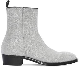 Alexander McQueen 40mm Glittered Leather Cuban Boots