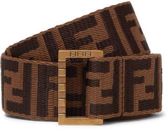 3.5cm Brown Leather-Trimmed Logo-Jacquard Webbing Belt