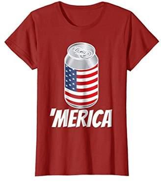 Funny 'Merica USA Flag Patriotic Beer Keg Drinking T-Shirt