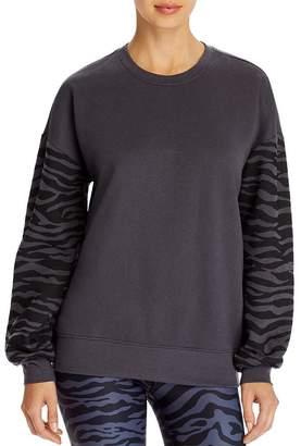 Aqua Zebra Striped-Sleeve Sweatshirt - 100% Exclusive