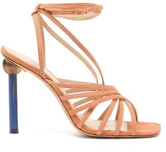 Jacquemus Pisa Mismatched Heel Suede Sandals - Womens - Nude