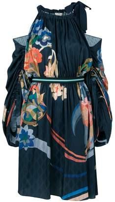 Fendi cold-shoulder floral dress