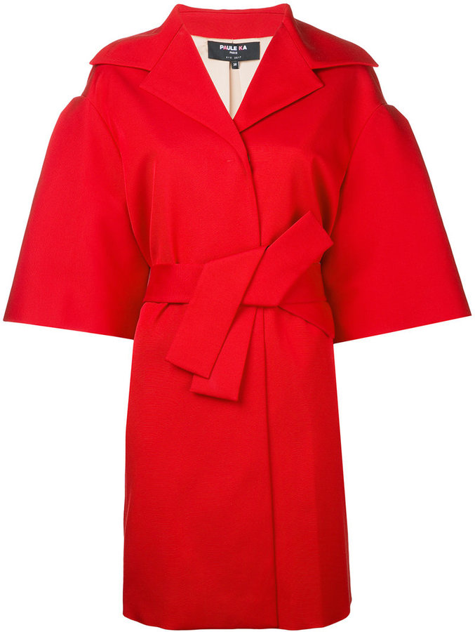 Paule KaPaule Ka half sleeve belted coat