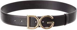 Dolce & Gabbana Dauphine Leather Logo Belt