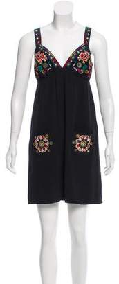 Tibi Embroidered Silk Dress