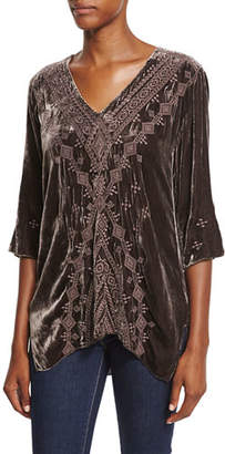 Johnny Was Shobah 3/4-Sleeve Embroidered Velvet Tunic, Plus Size
