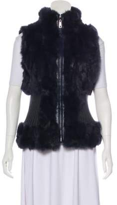 Belle Fare Fur Leather-Trimmed Vest Purple Fur Leather-Trimmed Vest