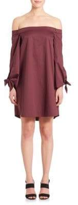 Tibi Off-The-Shoulder Bell-Sleeve Cotton Dress