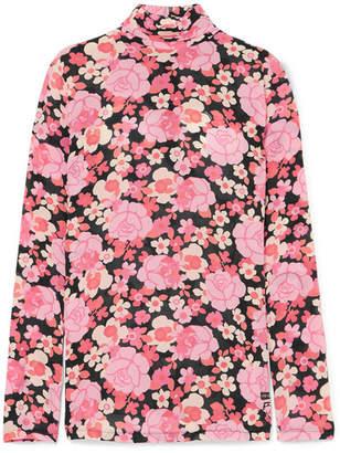 Prada Floral-print Silk-blend Georgette Turtleneck Top - Pink