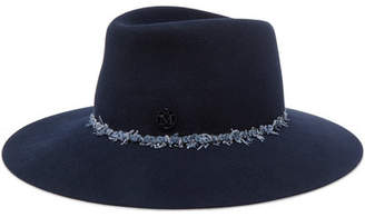 Maison Michel Charles Denim-trimmed Rabbit-felt Fedora - Navy