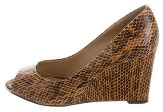 Michael Kors Snakeskin Peep-toe Wedges