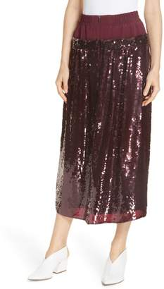 Tibi Sequin Layer Silk Midi Skirt