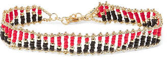 Dakota Gold-tone Beaded Anklet - Red