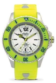 Neon Yellow Silicone Stainless Steel Strap Watch 40mm