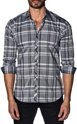 Jared Lang Men's Semi-Fitted Plaid Sport Shirt