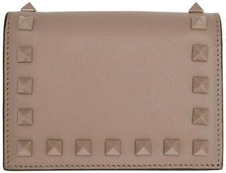 Valentino Pink Garavani Small Rockstud French Flap Wallet