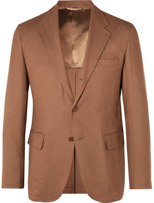 Camoshita Tan Unstructured Woven Suit Jacket