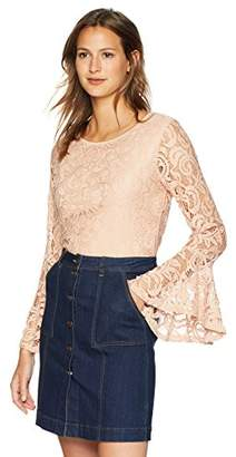 23b4948856957e Adrianna Papell Women's LACE TOP with Dramatic Bell Sleeve