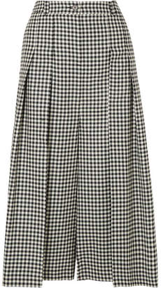 McQ Atami Pleated Gingham Wool-twill Wide-leg Pants - Black