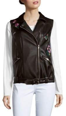 Saks Fifth Avenue RED Floral Faux Leather Jacket