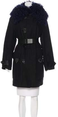 Acne Studios Shearling-Collared Belted Coat