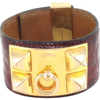 Hermes Vintage Red Exotic leather Bracelets