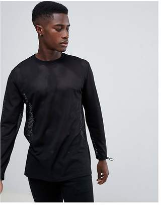 Asos DESIGN relaxed longline long sleeve t-shirt in mesh with toggle sleeves
