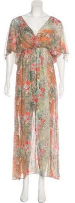 Alice + Olivia Printed Silk Maxi Dress
