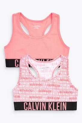 Calvin Klein Girls Pink Intense Power Bralettes Two Pack - Pink