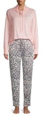 Hue MistyTwo-Piece Leopard Print Pajama Set