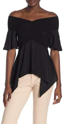 BCBGMAXAZRIA Off-The-Shoulder Peplum Top