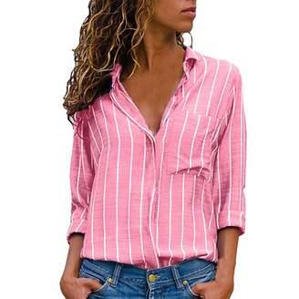 40663bb6 Whitegeese Women Casual Long Sleeve Button Down Shirt Striped Chiffon  Blouse Top (L, )