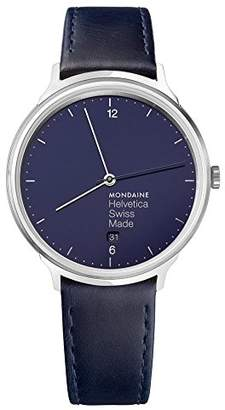 Mondaine 'Helvetica' Quartz Stainless Steel and Leather Casual Watch