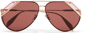 Aviator-style Gold-tone And Acetate Sunglasses - one size