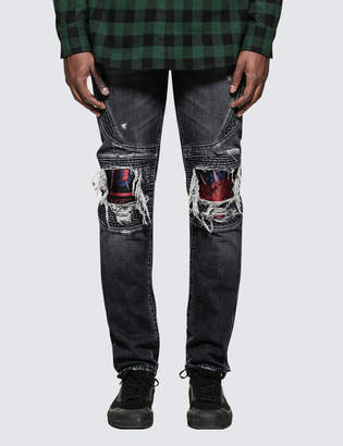 Marcelo Burlon County of Milan Light Wash Skull Biker Jeans