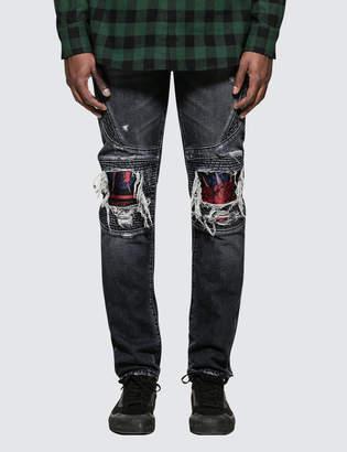 Marcelo Burlon County of Milan Light Wash Skull Biker Jeans