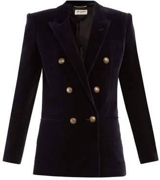 Saint Laurent Double Breasted Velvet Blazer - Womens - Navy