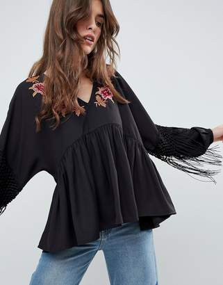 Asos DESIGN Embroidered Smock Top with Fringe